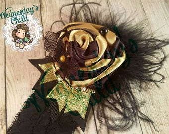 Black and gold handmade flower with lace butterfly on a lace elastic headband