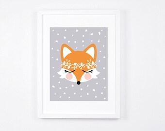 Fox Nursery Art Print, Floral Crown Fox Printable Art, Grey and White Nursery Decor, Digital Nursery Art, Scandinavian Modern Neutral