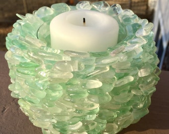Genuine Sea Glass Votive Candle Holder