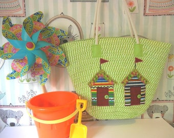 Tote Bag with Appliqued Beach Houses/Nautical Rope Handles/Great for Beach/Vacation