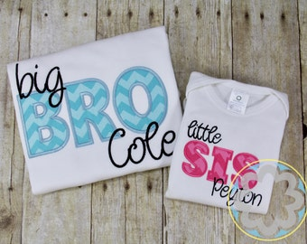 Big and Little Sister, Big Brother - Little Sister, Big Sister - Little Brother or Big and Little Brother Monogrammed/Personalized Shirts