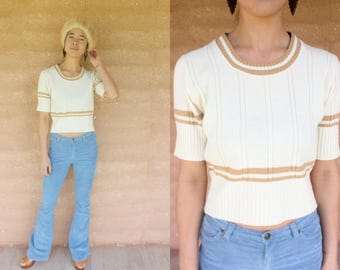 1970's vintage cream ribbed knit top with caramel stripes 70's retro sweater boho dazed and confused
