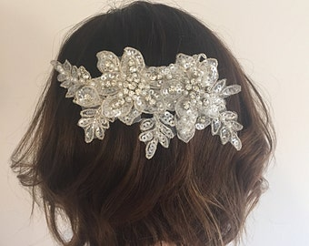 Lace Hair Comb - Bridal Hair Comb - Bridal Headpiece - Bridal Hair Piece - Lace Headpiece - Crystal Hair Piece - Lace Bridal Headpiece