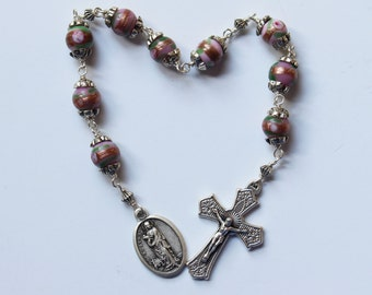 Saint Agatha Chaplet - Breast Cancer Catholic Chaplet, Pink Ceramic Beads, Wire Wrapped, Patron Saint of Nurses, Unbreaklable