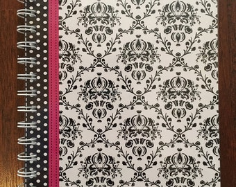 Set of 2 Personalized Notebooks/Journals - Damask Theme