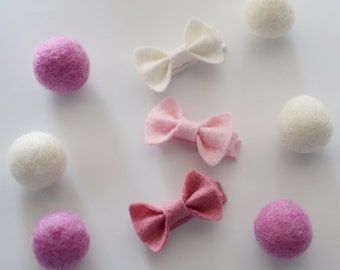 Tiny Felt Bow Clips, Pick your Colors - Baby Hair Clips - Clippies - Felt Bow Clips by SuperAdorable