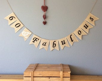 60th Birthday Bunting Banner Hessian Burlap Rustic