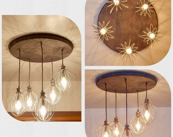 Farmhouse Chandelier - Restaurant Lighting - Dining Room Lighting - Dining Room Lighting - 7 Whisk Chandelier - Whisk Chandelier - Rustic