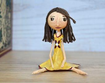 Miniature Doll - Paper Mache Doll - Dollhouse Doll - Collectible dolls - Miniature Figures - Small Art Dolls - Gift Doll - Modern Dollhouse