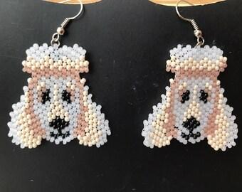 Czech Seed Bead Earrings Beaded Jewelry Beadwork Women Accessory Beaded dangle earrings Poodle Dog Jewelry Pet Lovers Earrings