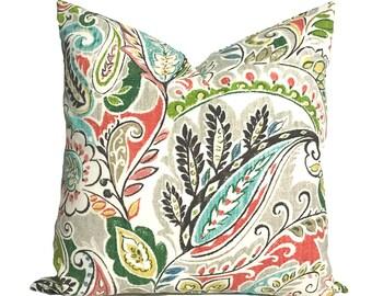 Outdoor pillow, 20x20, Outdoor pillow cover, Decorative pillow, Throw pillow, Paisley pillow, Outdoor cushion, Green pillow, Patio cushion