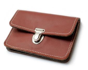 Wallet leather & felt, Brown