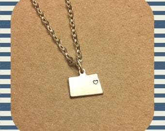 Hand-stamped North Dakota necklace!  Show off your ND love!!
