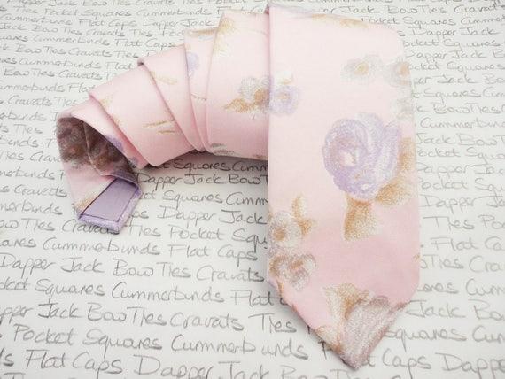 Pink floral tie for men, Wedding tie, Groom tie, Best man tie, Floral tie, choice of two colours