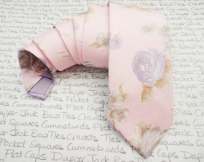 Featured listing image: Pink floral tie for men, Wedding tie, Groom tie, Best man tie, Floral tie, choice of two colours