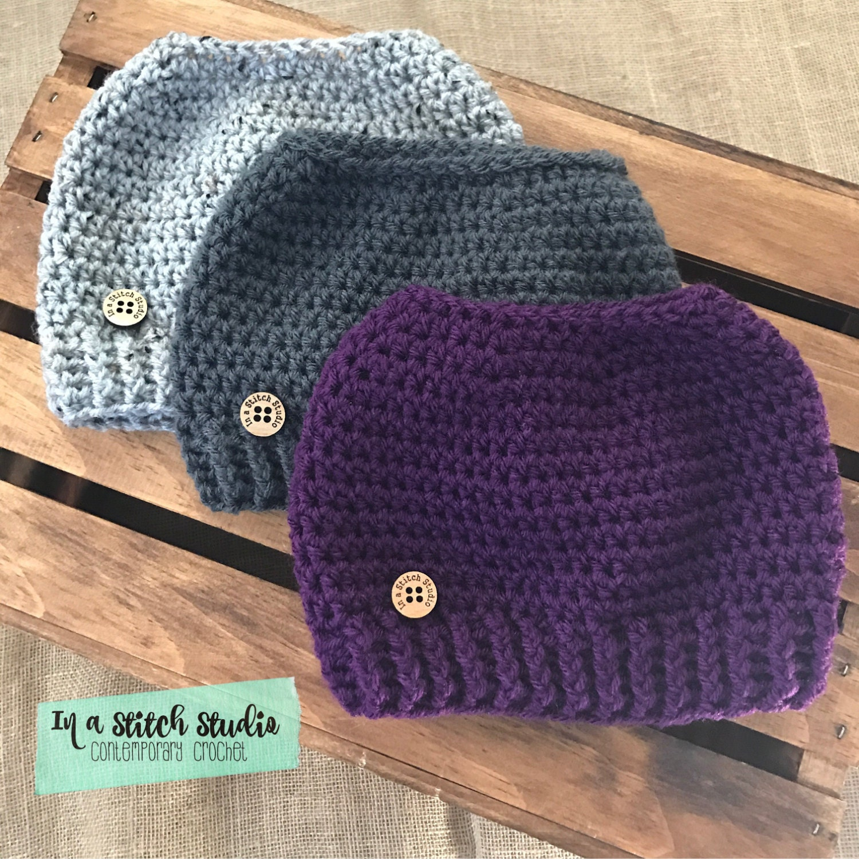 Crochet Messy Bun Beanie : Crochet Messy Bun Hat // Ponytail Beanie // by InaStitchStudio