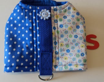 Small  Harness, Two Print Harness in Blue, Velcro closure and D Ring for attaching leash.
