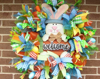 SALE 50.00 Easter Wreath, Easter Bunny Wreath, Easter Welcome Wreath, Happy Easter Wreath, Mesh Easter Wreath, Easter Door Wreath,