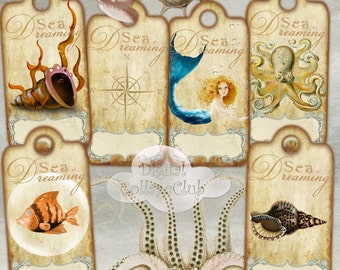 Nautical Decor Sea Shells Digital Images Small Hang Gift Tags Labels Digital Collage Sheet Summer Party Embellishment Scrapbooking