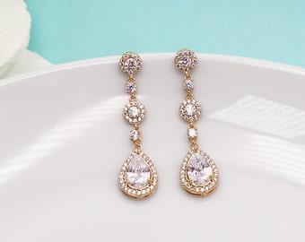 Gold Wedding earrings, Gold bridal earrings, tear drop pear cubic zirconia earrings dangle earring, Wedding earrings 469735376