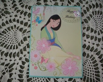 Disney Princess Card, Mulan, Card for Girls, Greeting Card, Handmade, Happy Birthday, Birthday card