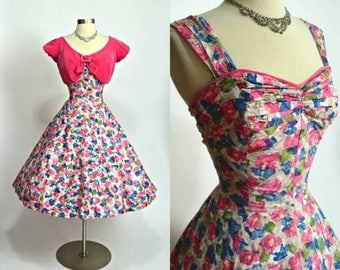1950s Emma Domb vintage floral cotton print bright pink blue yellow green white two piece set dress with reversible bolero