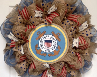 Coast Guard Handmade Deco Mesh Burlap Wreath