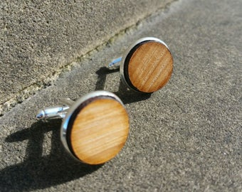 Whisky Barrel stave cufflinks made in Scotland (Oak side)