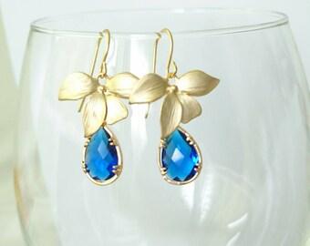 Dark Blue Earrings. Orchid Earrings. Blue Dangles. Dark blue Chandeliers. Orchid Dangles. Orchids Chandeliers Bridal, Bridesmaids Gifts.