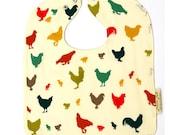 Organic Baby Bib featuring Chickens, Hen, Rooster, Chicks, Organic Toddler Bib, Chicken Baby Gift, Gender Neutral Bib, Baby Shower Gifts