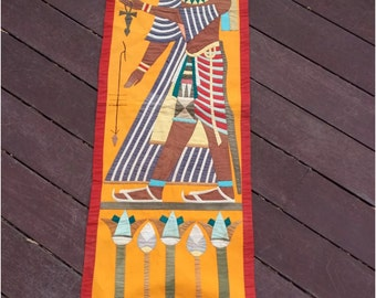 """Vintage  Egyptian Applique Wall Hanging Hand made Table Runner 49"""" X 18"""