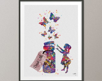 Alice in Wonderland Drink Me Watercolor Print Archival Fine Art Print  Nursery Wall Art Wall Decor Art Home Decor Wall Hanging [NO 661]