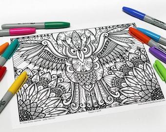 Mandala coloring, drawing #9478 printed on cardboard, coloring of relaxation, great Duke, bird