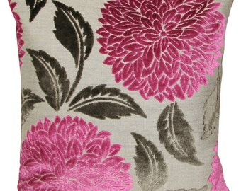 Sanderson Ceres Velvet Fuchsia & Taupe Cushion Cover