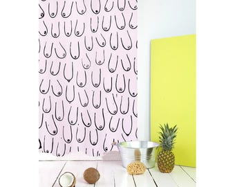 Unique shower curtain / cool shower curtain / light pink shower curtain / funny shower curtains with shower curtain hooks