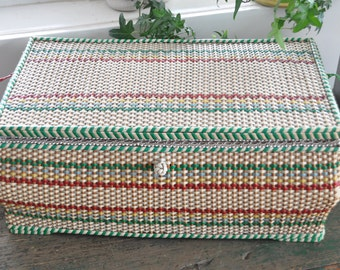 Granny's sewing basket!  1960's woven plastic sewing basket - nice large size - will hold all your day to day sewing needs.