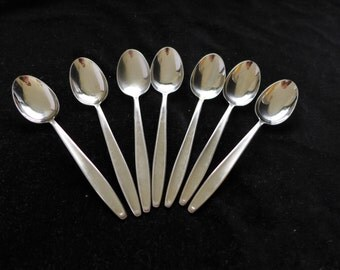 "Midcentury Set of 7 Stainless Steel Table Spoons Marked"" Roneusil Germany"""