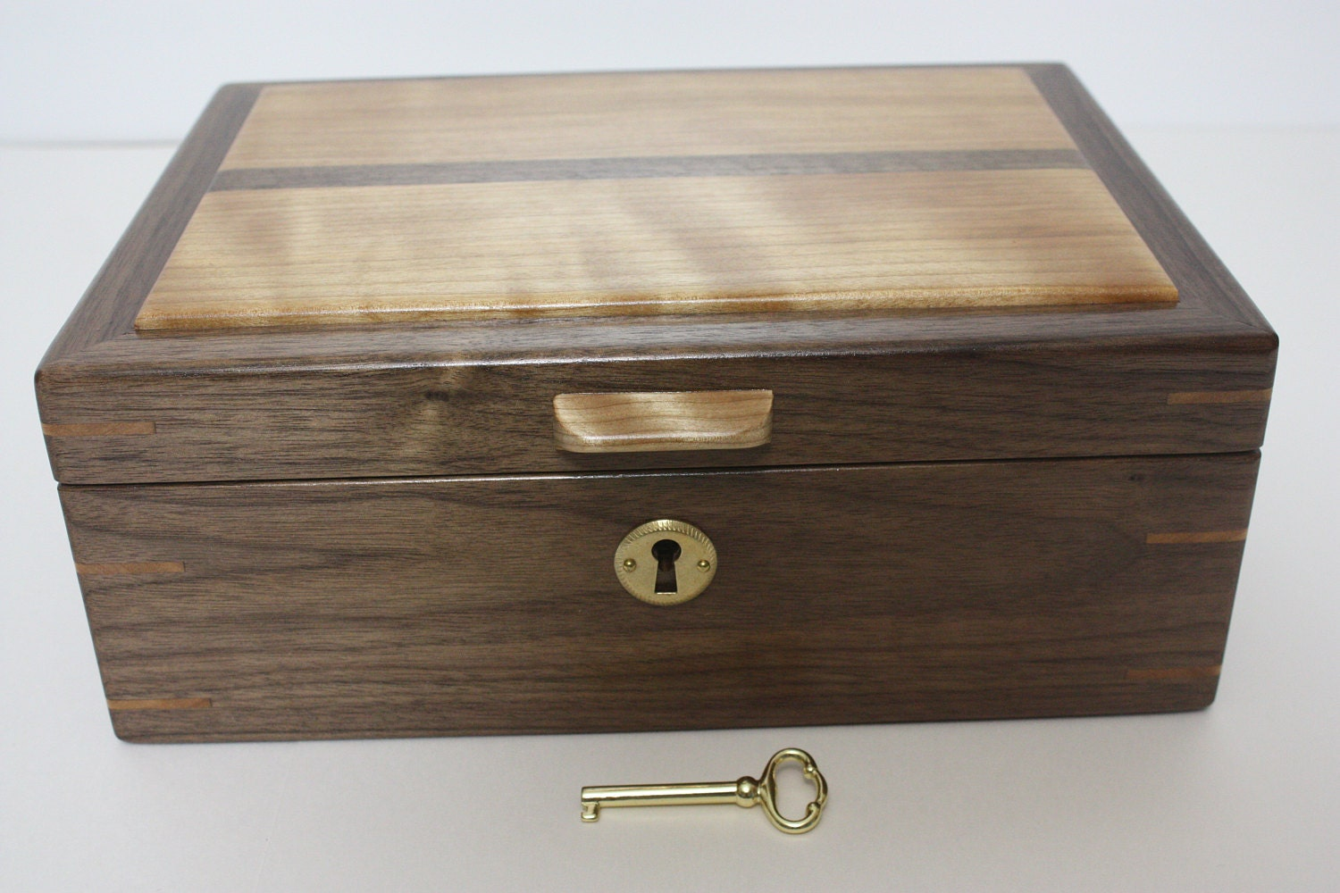 Handmade Locking Walnut and Red Birch Box For Sale