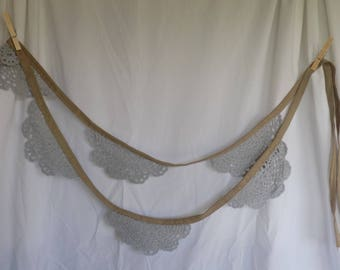 CLEARANCE- Lace Bunting with burlap-look ribbon- gray