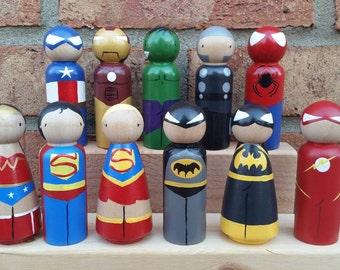 READY TO SHIP - Superhero Wooden Peg Doll / Cake Topper / Collectible
