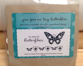 You Give Me Tiny BUTTERFLIES Unity Stamp Company red rubber unmounted cling stamp set Unused