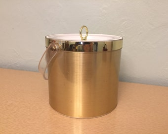 25% SALE *** Georges Briard Gold Vinyl Insulated Ice Bucket with Clear Lucite Handle & Lid