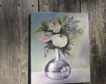 Small Oil PAINTING Three ROSES in the Vase Shabby Cottage Free Shipping