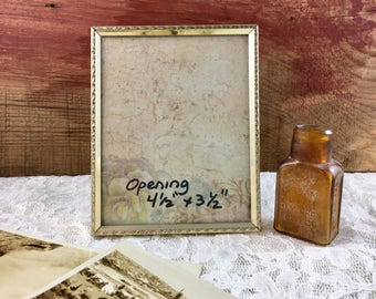 Vintage Small Embossed Ornate Gold Metal Picture Frame Photo Frame