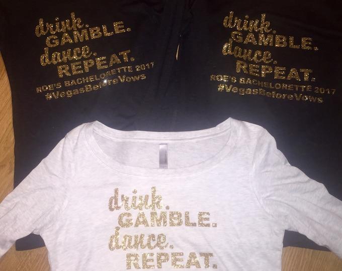 6 Gold Las Vegas bachelorette t-shirt - set of 6 bachelorette ladies long sleeve t-shirts - Las Vegas gold glitter shirts - bridesmaid