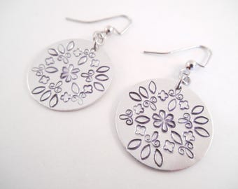 Mandala Stamped Earrings - Mandala Metal Stamped Dangle Earrings