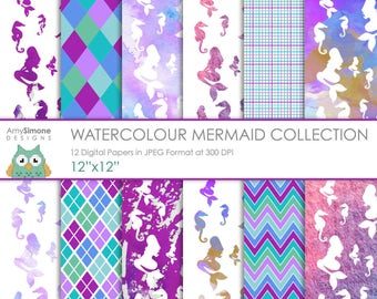 "Watercolour Mermaids 12""x12"" Digital Papers"