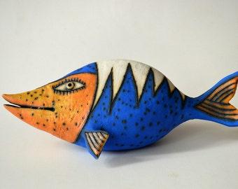 fish - red fish - ceramic fish - ceramic sculpture - red and white - art - ceramic art