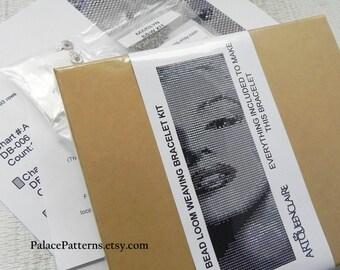 Gift Boxed Black and White Marilyn Monroe LOOM Bracelet Beading KIT P16 - Gift Boxed Wide Bracelet Beading Kit