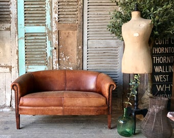 NOW SOLD - Vintage French leather loveseat sofa